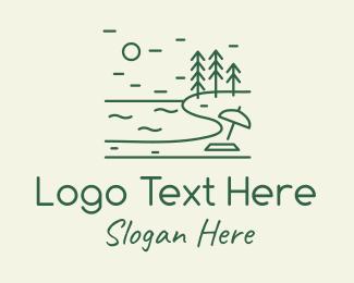 Getaway - Green Seaside Beach Lake logo design