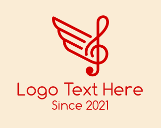 Treble Clef - Music Note Wings  logo design