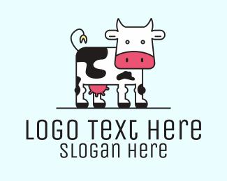 Dairy Farmer - Dairy Milk Cow logo design