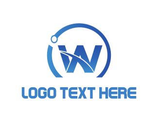 Woocommerce - Blue Letter W logo design