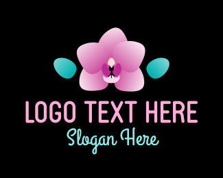House Plant - Simple Cute Orchid logo design