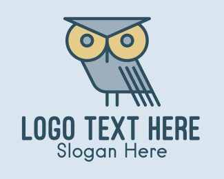 Review Center - Eagle Owl Cartoon logo design