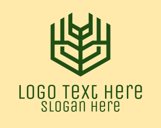 Harvest - Geometric Green Farm  logo design