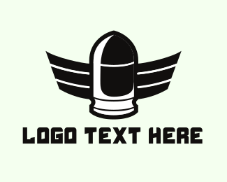 Rifle - Winged Bullet logo design