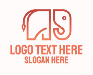 Trunk - Gradient Minimalist Elephant logo design