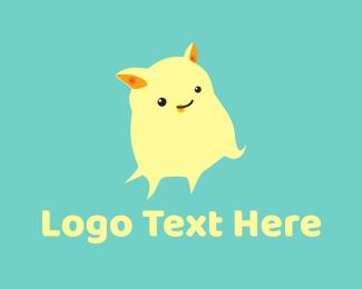 Stuffed Animal - Cute Yellow Monster logo design
