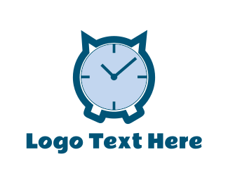 Alarm - Cat Clock logo design
