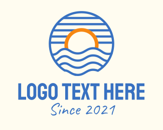 Simple - Sunset Wave Beach logo design