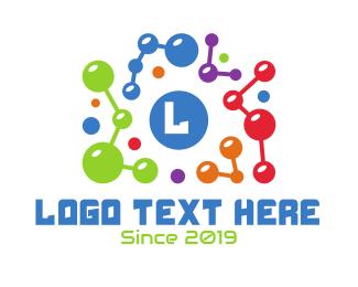 Atom - Colorful Atom Lettermark logo design