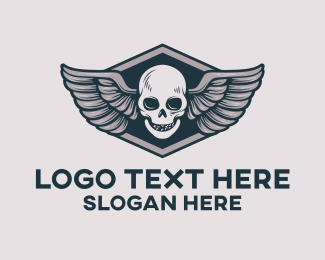 Grey - Grey Skull Wing logo design