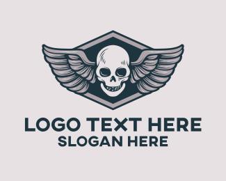 """Skull Pilot Emblem Automotive Aviation"" by town"