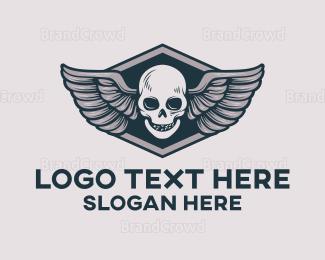 Wing - Grey Skull Wing logo design