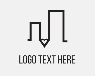 Teacher - Pencil Building logo design