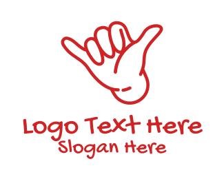 Outline - Shaka Hand Outline logo design