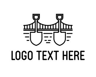 Golden Gate - Bridge Shovel Outline logo design