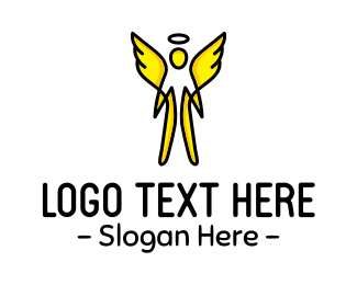 Heavenly - Yellow Angel logo design