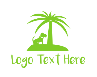 Green Puppy - Green Dog Palm Tree Island Resort logo design