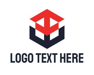 Pubg - Red Blue Arrow Cube logo design