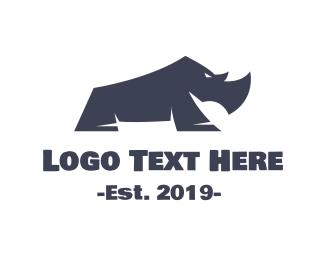 Extinct - Blue Baby Rhino logo design