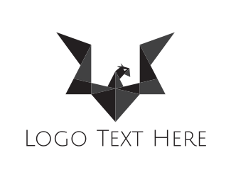 Coal - Origami Black Dragon logo design
