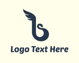 Curved - Blue Swan logo design