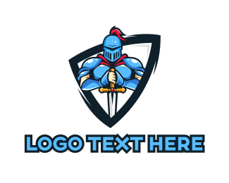 Knight - Blue Knight Shield  logo design