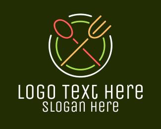 Delicacy - Retro Neon Restaurant logo design