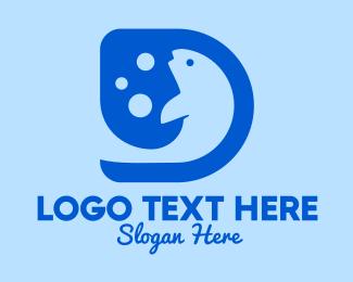 Seafood Restaurant - Blue Fish Letter D logo design