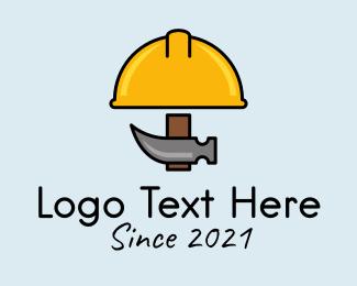 Hat - Construction Hat Hammer logo design