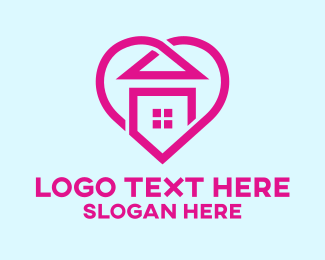 Stay At Home - Pink Home Heart logo design