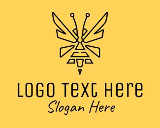 Hornet - Black Sting Bee logo design