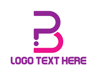 Earrings - Cute Pink B logo design