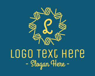 Blue Ice Cream - Abstract Yellow Wreath Lettermark logo design
