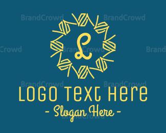 Ice Cream - Abstract Yellow Wreath Lettermark logo design