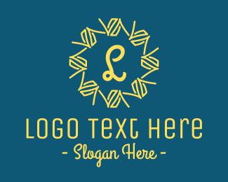 Brand - Abstract Yellow Wreath Lettermark logo design