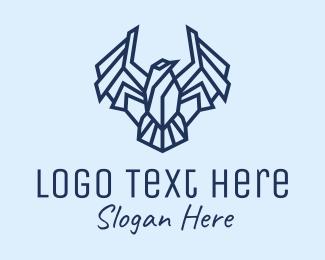 Finch - Geometric Blue Bird logo design
