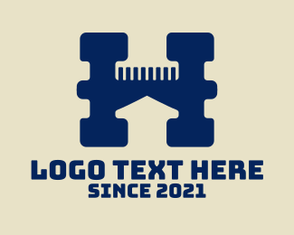 Haircutter - Letter H Barbershop  logo design
