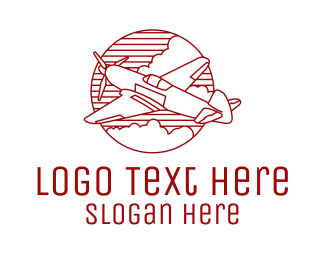 Clouds - Plane Monoline Badge logo design