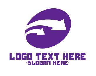 Delivery Service - Purple Industrial Arrows logo design