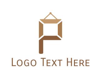 Wall - Frame Letter P logo design
