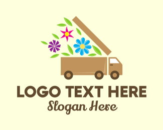 Lorry - Flower Delivery Truck logo design