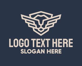 Minimalist Winged Lion logo design