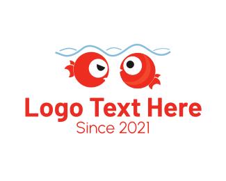 Swim - Cute Red Fishes logo design