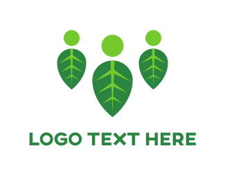 Grass - Three People Leaves logo design