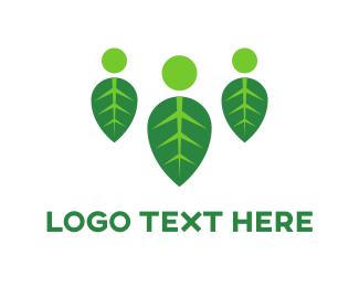 Crowd - Three People Leaves logo design