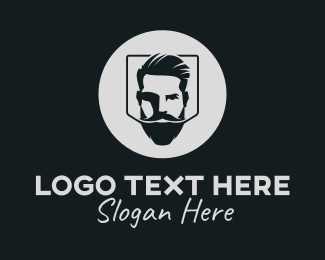 Man Bun - Hipster Bearded Guy logo design