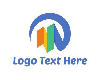 Ribbon - Bar Chart logo design