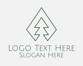 Minimal - Green Pine Tree Minimal logo design