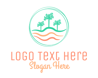 Ocean Waves - Palm Tree Wavy Beach CIrcle logo design