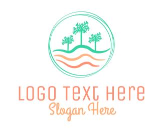 Palm - Palm Tree Wavy Beach CIrcle logo design